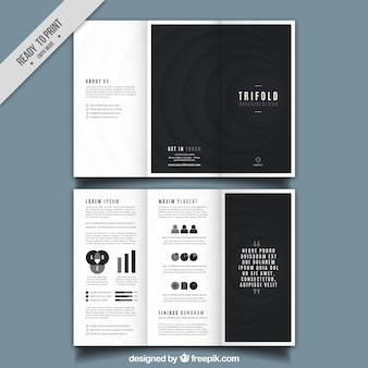 Trifold brochure design with black round shapes