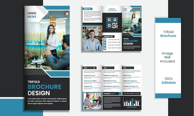 Trifold brochure template design minimal shapes with black and blue color.