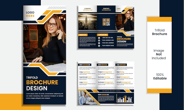 Trifold brochure template design minimal shapes with black and yellow color.