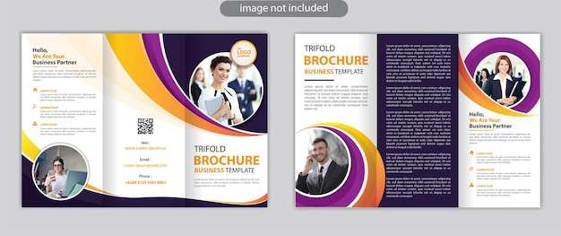 Trifold brochure template design with modern style and minimalist layout concept