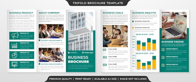 Trifold brochure template with clean layout and minimalist style use for business promotion