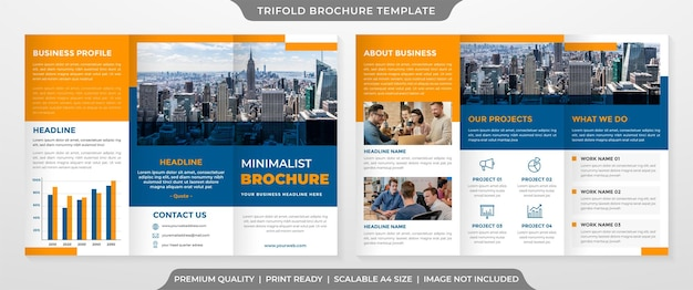 Trifold brochure template with minimalist and premium style use for business presentation