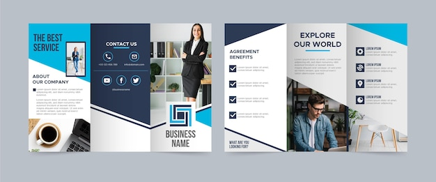 Trifold brochure template with photo