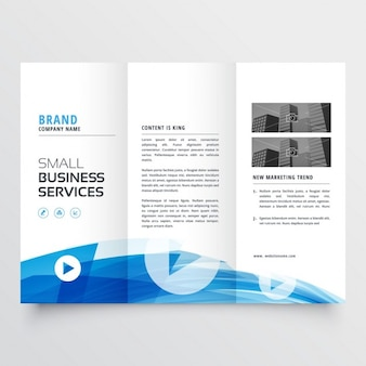 Trifold brochure with abstract blue wave