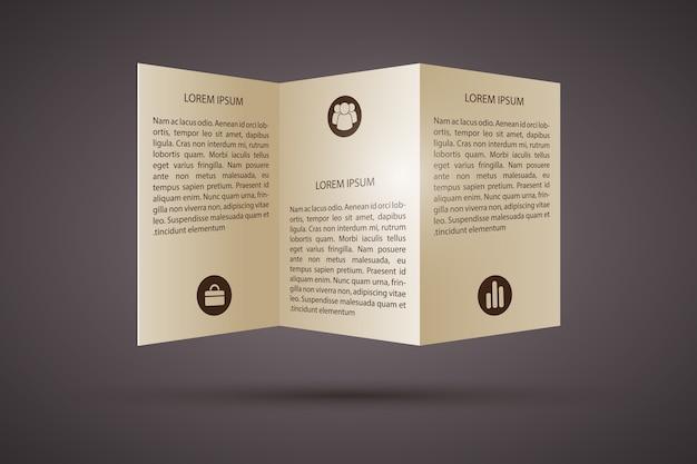 Brochure a tre ante con modello di icone