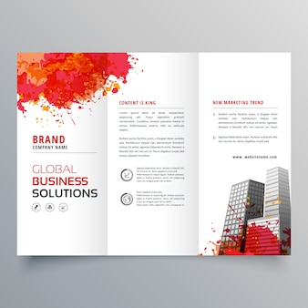 Trifold business brochure template with watercolor stains