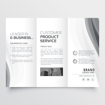 Trifold business brochure with elegant gray wave