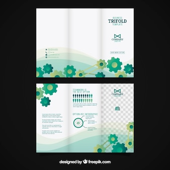 Trifold business brochure with green gear wheels