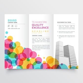 Trifold business flyer design with colorful circles