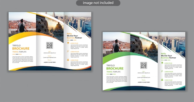 Trifold design template for background marketing leaflet