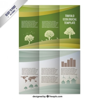 Trifold ecological template with trees
