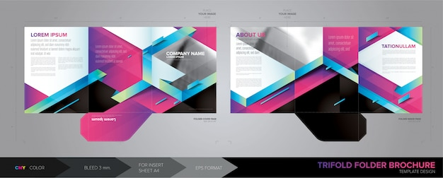 Trifold folder template in vector