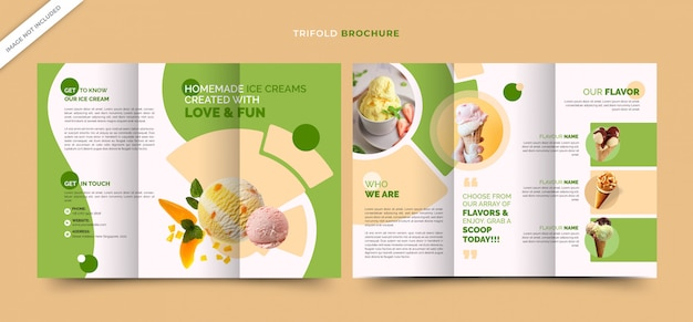 Trifold smoothie brochures template for ice cream shop