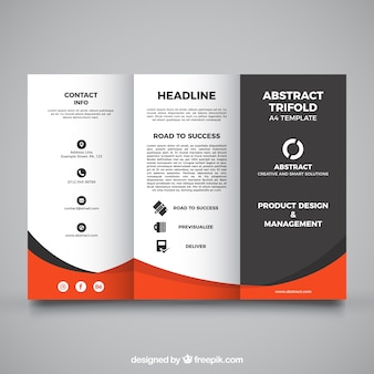 Trifold template with orange details