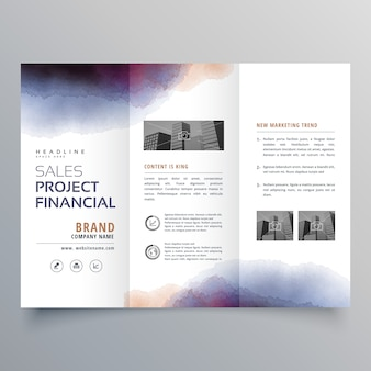 Trifold watercolor business brochure template