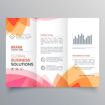 Шаблон брошюры бизнес trifold с мягкий розовый и оранжевый цвета