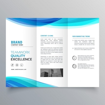 Синий шаблон брошюры trifold волна для вашего бизнеса