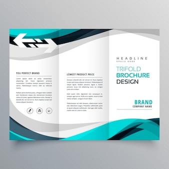 Trifold брошюры дизайн с красивым синим и серой волны