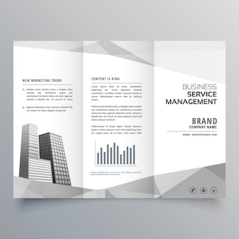 Удивительный дизайн trifold брошюра с деловыми кругами на серых геометрических фигур