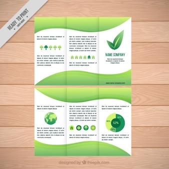 Экологический шаблон trifold с инфографики элементов