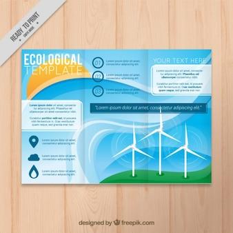 Экологический шаблон trifold с энергией ветра