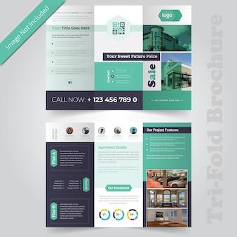 Недвижимость брошюра дизайн trifold