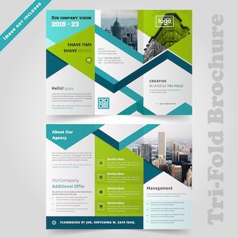 Зеленый корпоративный дизайн брошюры trifold