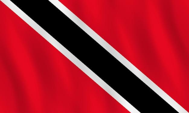 Флаг тринидада и тобаго с развевающимся эффектом, официальная пропорция.