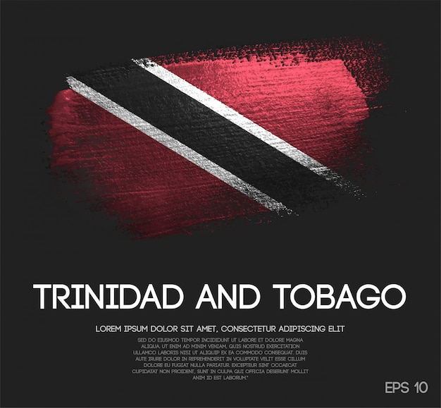 Trinidad and tobago flag made of glitter sparkle brush paint