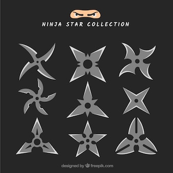 平らなデザインのtrinitin ninjaスターコレクション