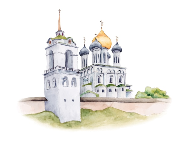 Trinity cathedral of pskov kremlin, russian orthodox church, watercolor illustration