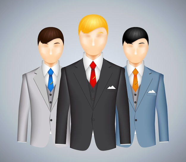 Trio of businessmen in suits each wearing a different colored outfit with a blond haired man in the foreground