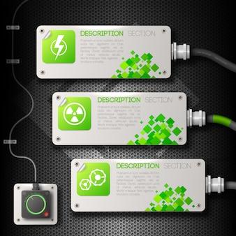 Трио идентичных баннера устанавливают композицию в виде электронных устройств с информацией о разделах описания.