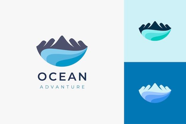 Trip or adventure logo in mountain ocean or island shape