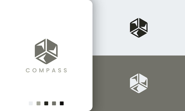 Trip or adventure logo with a simple and modern compass hexagon vector shape