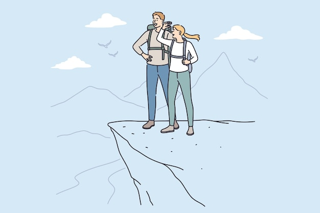 Trip, adventure and summer vacations concept. young happy couple cartoon characters standing with backpacks looking at scenery view from mountain top peak feeling freedom vector illustration