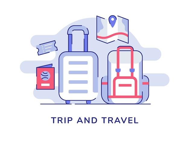 旅行コンセプトバックパックスーツケースパスポートチケットマップ白い孤立した背景を旅行