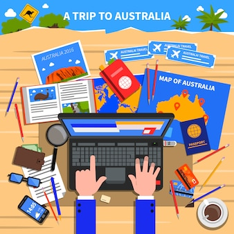 Trip to australia illustration