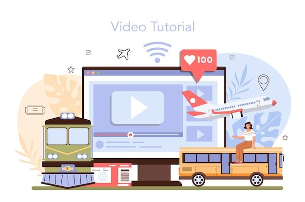 여행 예약 온라인 서비스 또는 플랫폼. 비행기 표 구입