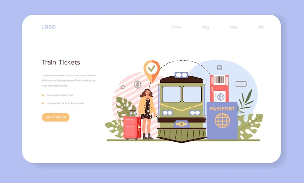 Trip booking web banner or landing page buying a ticket for a train
