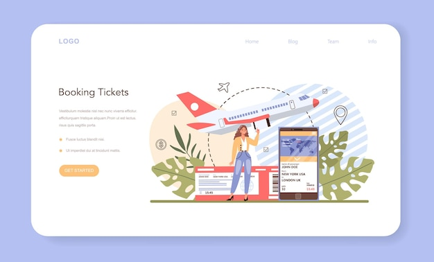 旅行予約のwebバナーまたはランディングページ。飛行機のチケットを買う。