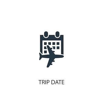 Значок даты поездки. простая иллюстрация элемента. дата поездки концепция символ дизайн. может использоваться в интернете и на мобильных устройствах.