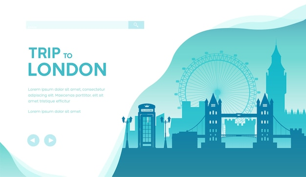 Trip to london landing page template. great britain sightseeing traveling. cityscape minimalistic.