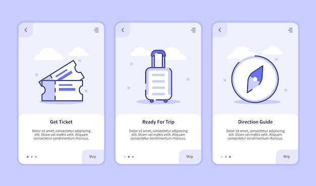 旅行オンボーディング画面モバイルアプリスマートフォン用の最新のユーザーインターフェイスuxuiテンプレートは、フラットスタイルの旅行方向ガイドのチケットを準備します。