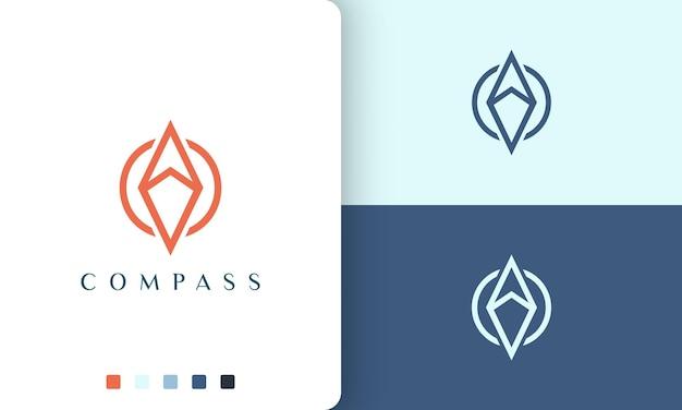 단순하고 현대적인 나침반 원 모양으로 여행 또는 모험 로고 벡터 디자인