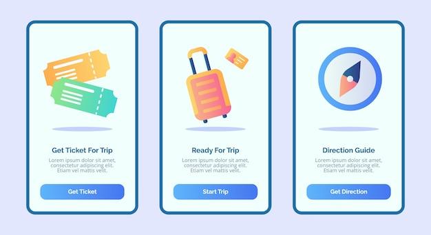 3つのバリエーションのモダンなフラットカラースタイルのベクトルを備えたモバイルアプリテンプレートバナーページuiのチケット荷物とコンパスを使用した旅行または旅行のコンセプト