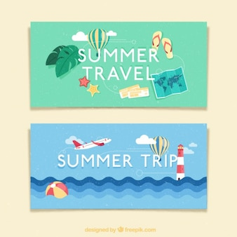 Trip in summertime banners