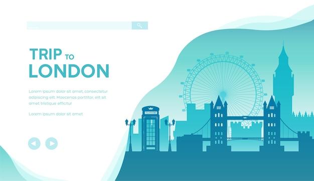 ロンドンのランディングページテンプレートへの旅行。イギリスの観光旅行。ミニマルな街並み。