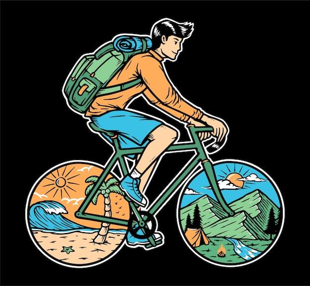 自転車で山と海を旅するイラスト