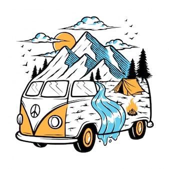 私の車のイラストで山への旅